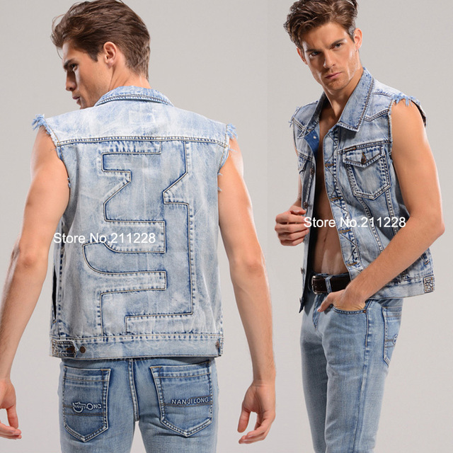 2015 XXXL spring summer male blue denim vest casual sleeveless jean