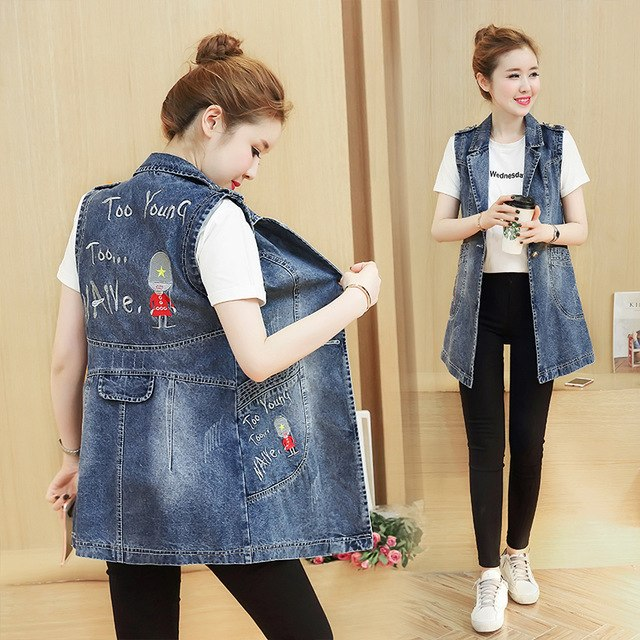 2018 Spring Autumn Women Jean Vests Embroidery Letter Plus Size 4XL