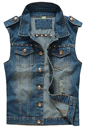 LifeHe Men Sleeveless Motorcycle Denim Jean Vests Jacket with Rivets