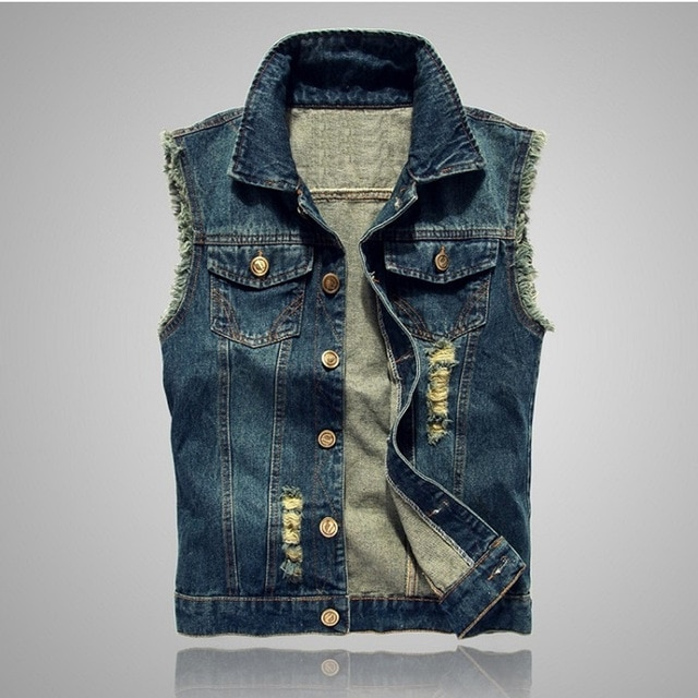Motorcycle jean vest Sleeveless Jackets for Man Spring autumn casual