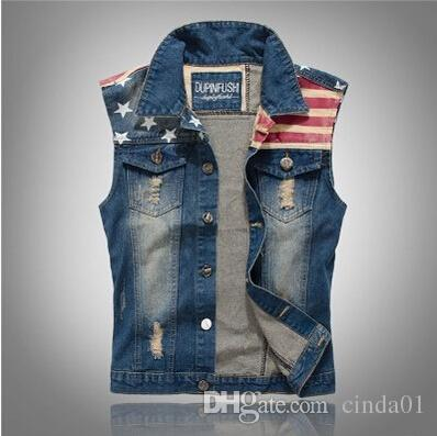 2019 Men Jean Vests Classic Vintage Leeveless Casual Fashion Flag