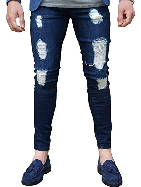 Men Ripped Stretchy Denim Blue Jeans Skinny Pencil Pants Ankle
