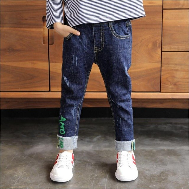 Boys jeans Spring children's blue jeans Fashion letters casual pants