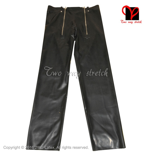 Latex Jeans Rubber pants with two zippers trousers Black Gummi