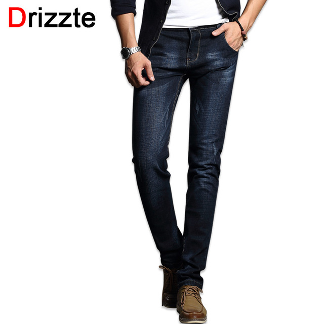 Drizzte Fashion Men's Jeans Comfortable Stretch Blue Denim Men Slim