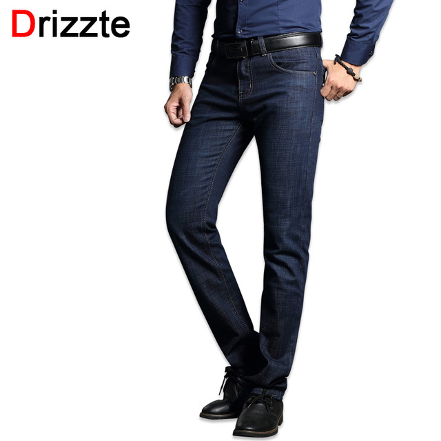 Drizzte Men's Jeans Blue Denim Business Stragiht Silm Fit Jeans Size