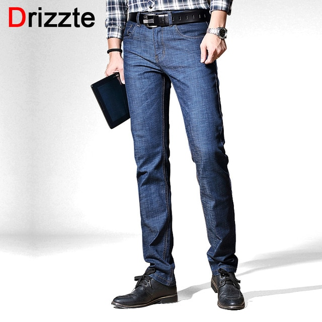 Drizzte Men's Jeans Stretch Blue Denim Business Straight Slim Fit