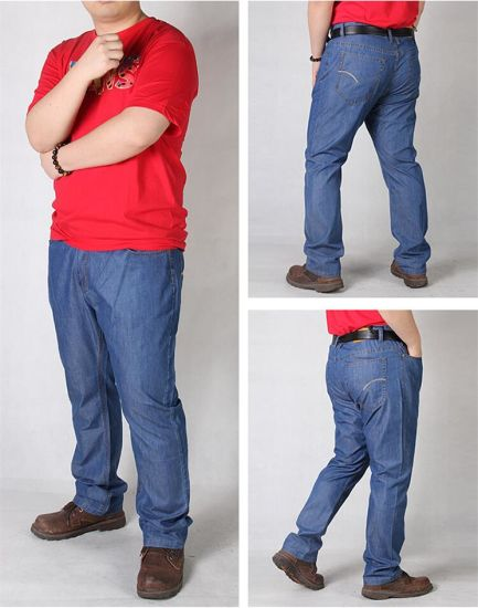 China P1155 Summer Thin Plus Size 38-50 Men Long Loose Jeans - China