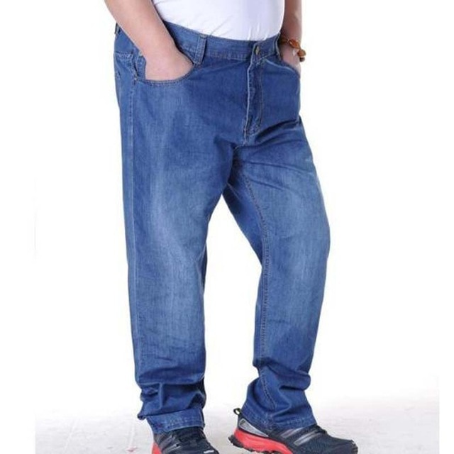 Drizzte 2019 Spring Men Jeans Stretch Straight  Fit Plus Size 28 To 44 46 Jeans