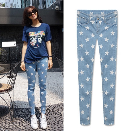 2015 New Woman Skinny Jeans Pants Vintage Sexy Stars Print Casual