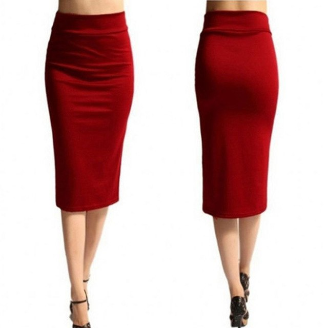 New Ladies Office Stretch Bodycon Midi Skirt Women Pencil Skirt