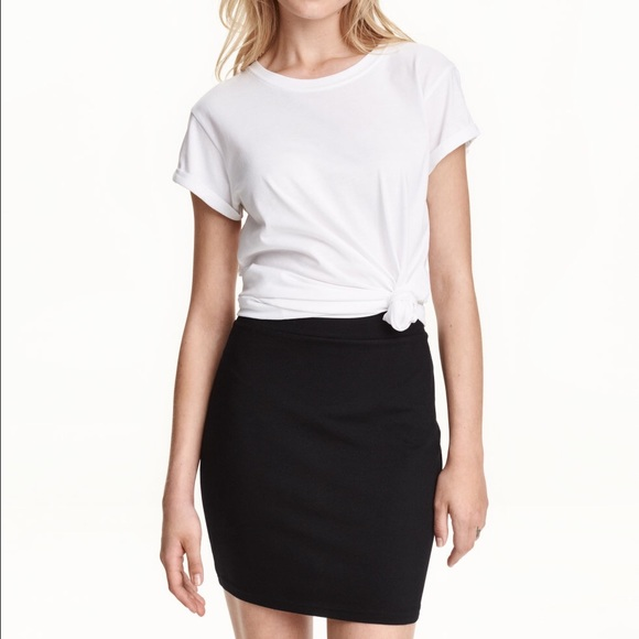 H&M Skirts | Hm Basic Black Jersey Skirt | Poshmark