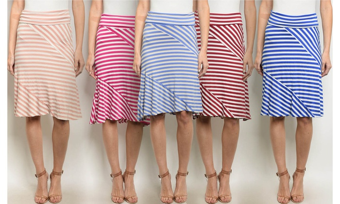 Women's Striped Jersey Skirts | Groupon