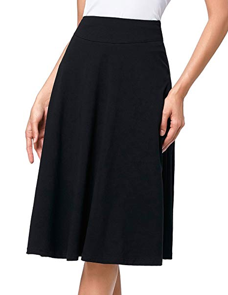 Kate Kasin Flared Stretchy Midi Skirt High Waist Jersey Skirt for