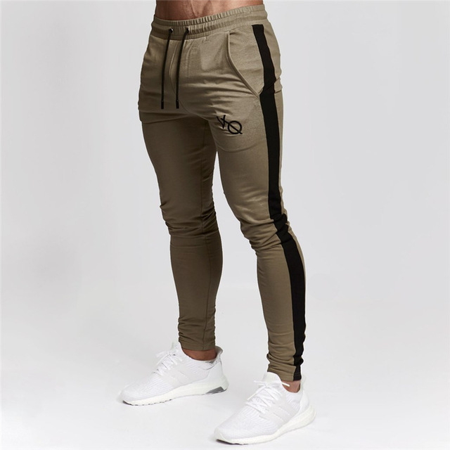 Jogging Pants Men Joggers Fitness Running Pants Striped Bodybuilding