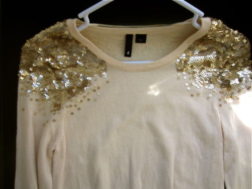 H M Gold Sequined Shoulders Statement Coral Sweater Pullover