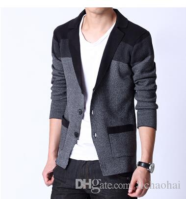 2019 2015 Spring New Fashion Male Slim Knitted Blazer Suit Jacket