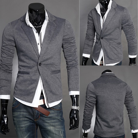 Autumn men's casual slim suit male knitted blazer-in Blazers from