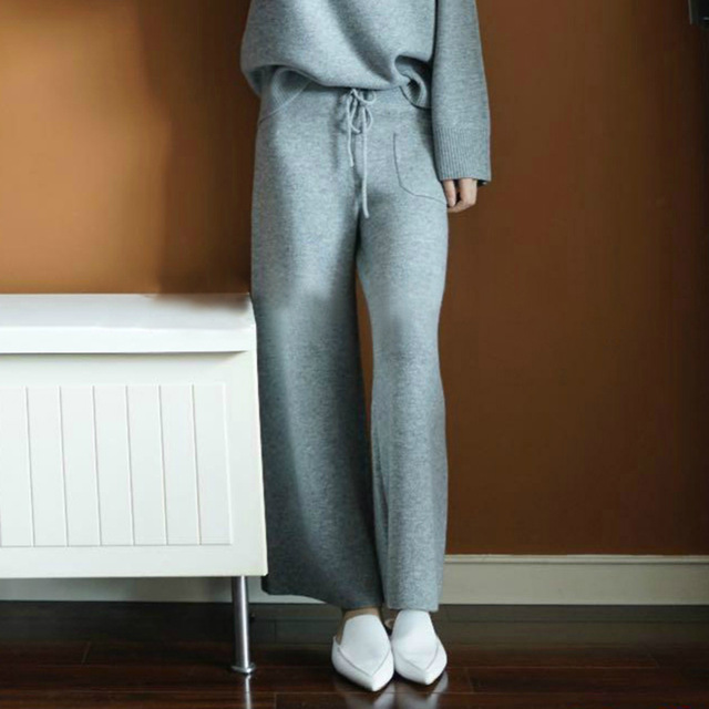 women knitted pants female cashmere trousers lazy loose all match