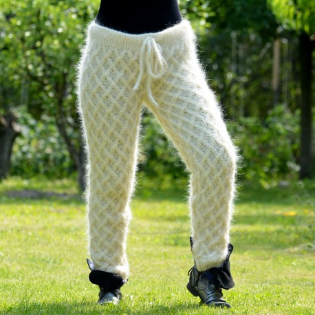 Hand Cable Knitted Mohair Pants Off White Color Fuzzy Leggings