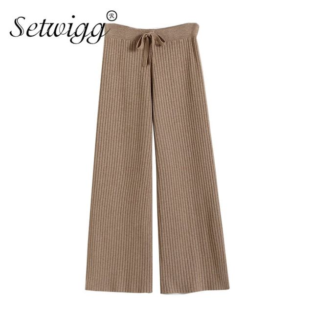 SETWIGG Womens Vetical Striped Wool Wide Leg Rib Knitted Pants