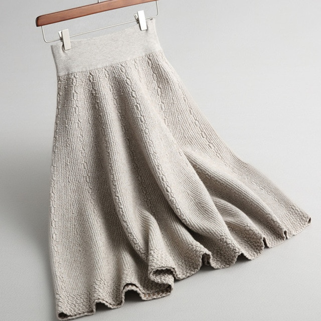 black grey beige thernal warm thick midi a line knitted skirt for