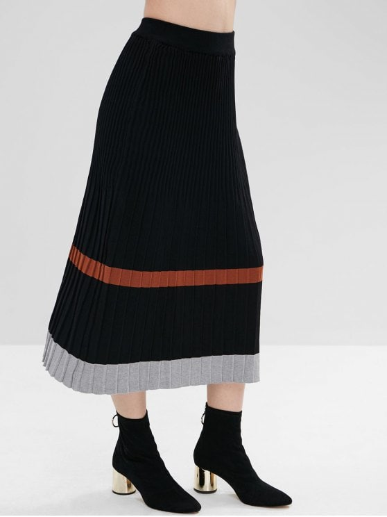 33% OFF] 2019 Maxi Contrast Knitted Skirt In BLACK ONE SIZE | ZAFUL