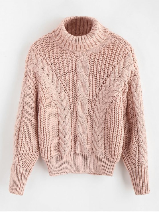 53% OFF] 2019 Turtleneck Chunky Cable Knitted Sweater In PINK ONE