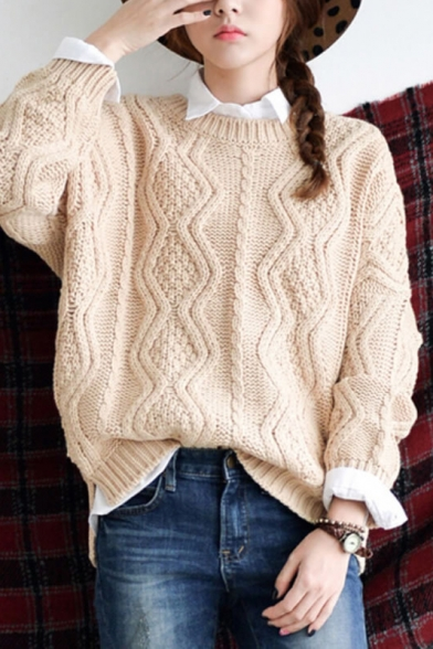 Apricot Round Neck Long Sleeve Cable Knitted Sweater - Beautifulhalo.com