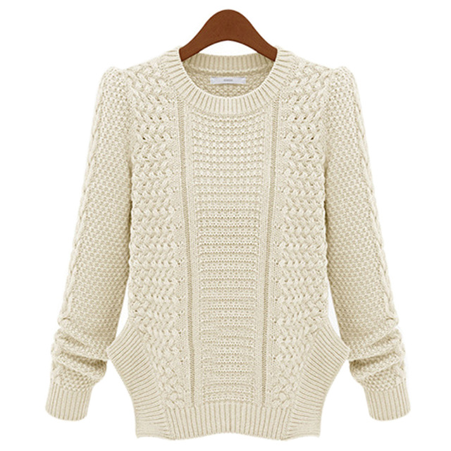 New Autumn Winter Women Twist Knitted Sweater Round Neck Long Sleeve