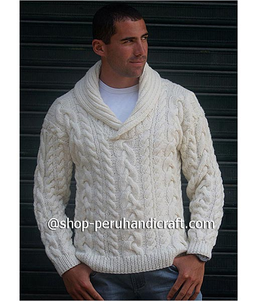 Aran sweater for men hand knitted with baby alpaca wool Free Shipping
