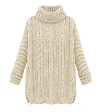 LOVEBEAUTY Women's Turtleneck Chunky Cable Knit Long Sleeve Loose