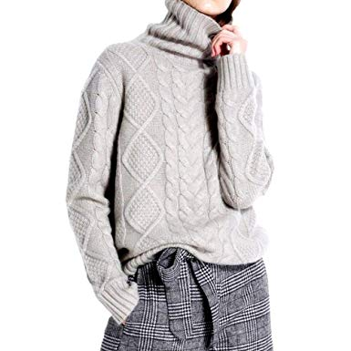 Ailaile Cashmere Wool Sweater Women's Twist Thick Turtleneck