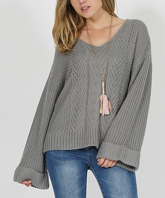 Heather Gray Oversize Bell-Sleeve Cable-Knit Sweater - Women | Zulily