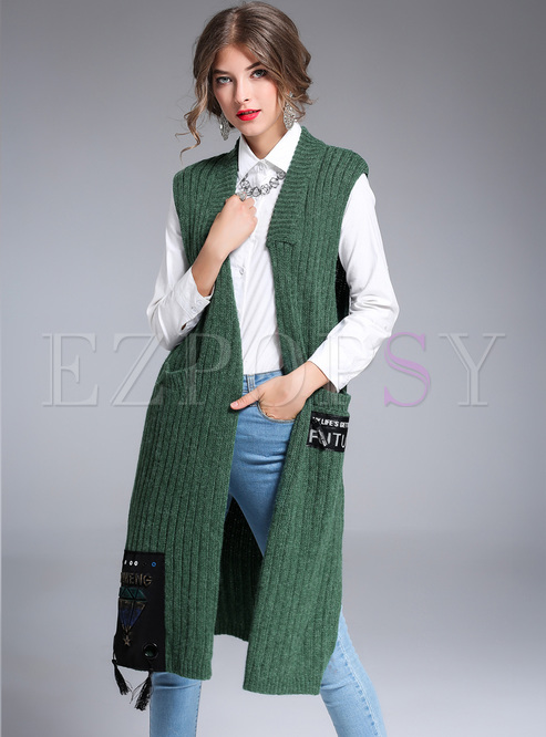 Outwear | Vests | Brief Green Patched Knitted Vest