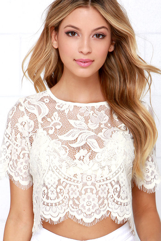 Chic Cream Top - Lace Top - Crop Top - Scalloped Top - $45.00
