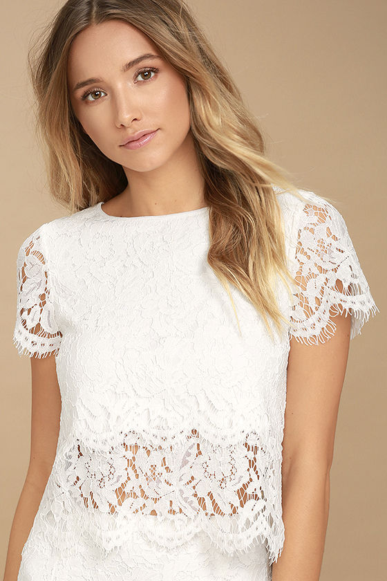 Cute White Top - Lace Crop Top - Lace Top - Scalloped Top - $36.00