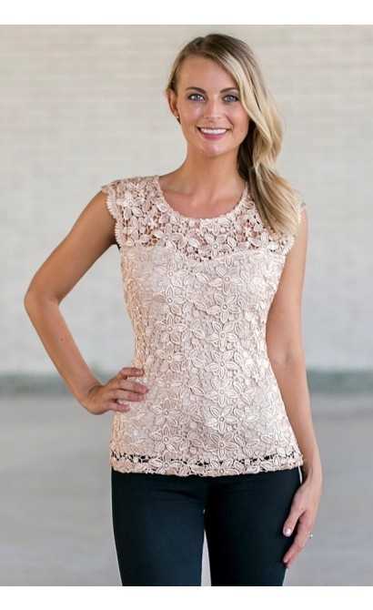 Beige Lace Top, Cute Summer Top, Sequin Lace Top Lily Boutique