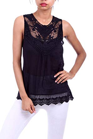 Womens Solid Knit Crochet Laced Sheer Rayon Floral Knit Blouse Top
