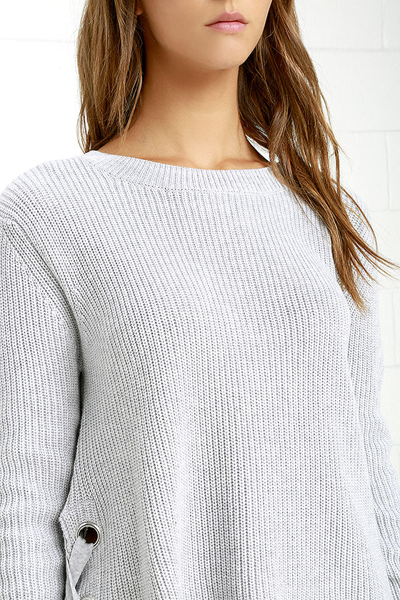 Cute Grey Sweater - Lace-Up Sweater - Knit Sweater - $41.00