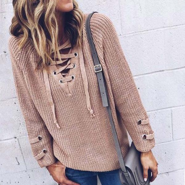 Stevie Lace-Up Sweater in Olive, Boho Lace-Up Sweaters from Spool 72