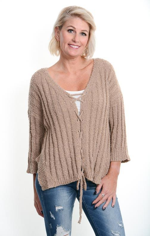 Mocha Laced Cardigan Sweater u2013 Betsy Boo's Boutique