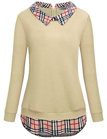 Amazon.com: JCZHWQU Women's Classy Lapel Collar Long Sleeve Curved