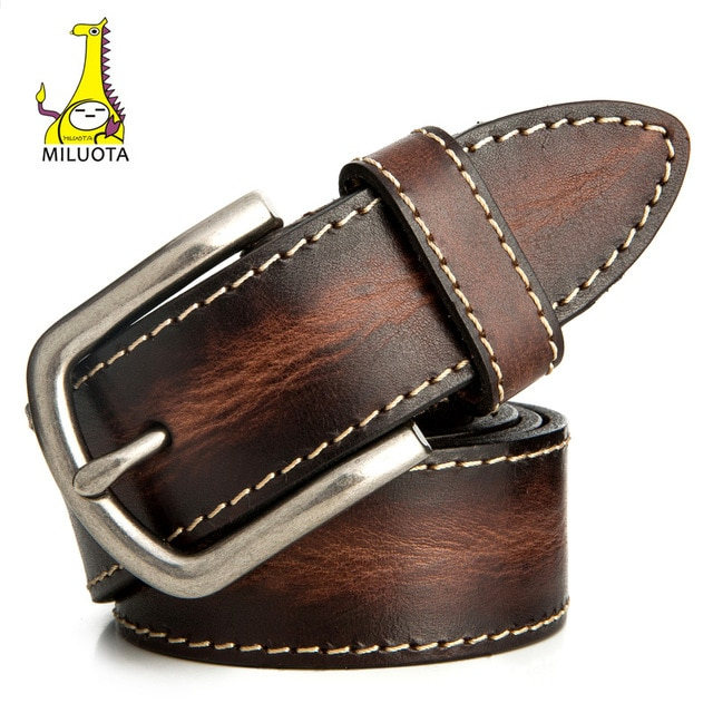 MILUOTA] leather belt men Vintage 100% Cowskin Genuine Leather Belts
