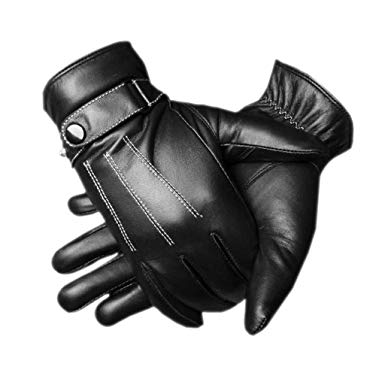 CASF Men's Warm Lambskin Genuine Leather Gloves For Men Winter