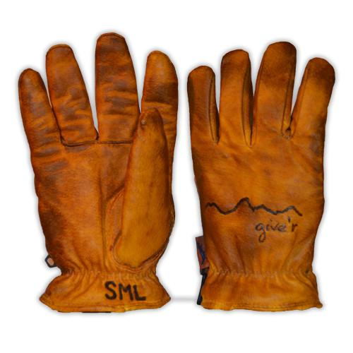 Hand-Branded Leather Gloves from Give'r - Garage Grown Gear