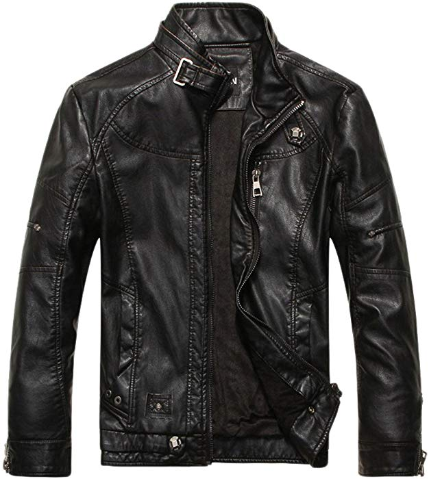 chouyatou Men's Vintage Stand Collar Pu Leather Jacket (X-Small