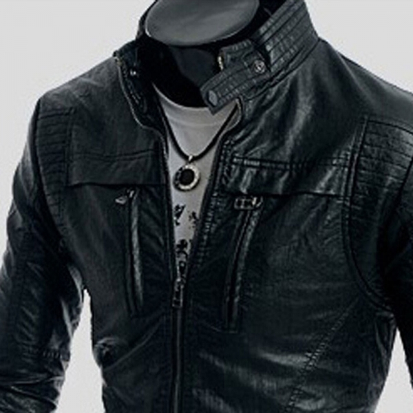 Autumn Style Stand Collar Double Zippers Men's PU Leather Jacket