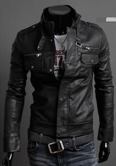 MEN STAND COLLAR LEATHER JACKET, BLACK JACKET, MEN'S BIKER LEATHER