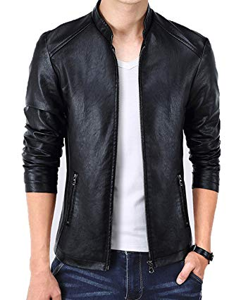 KIWEN Men's Vintage Stand Collar Leather Jacket at Amazon Men's